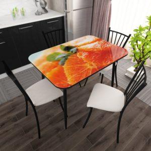 Стол фотопечать стекло Апельсин с Черной опорой