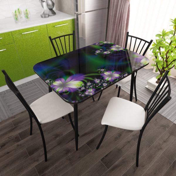 Стол фотопечать стекло Фантазия с Черной опорой