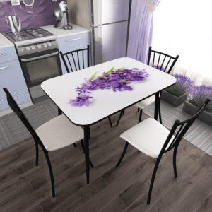 Стол фотопечать стекло Орхидея с Черной опорой