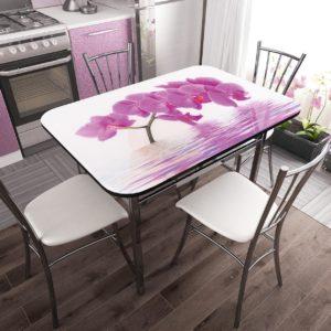 Стол фотопечать стекло Орхидея с разборной опорой NEW