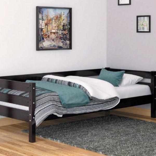 ГЛОРИЯ кровать одинарная детская цвет темный орех