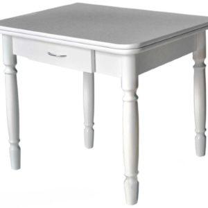 Стол ЛОМБЕРНЫЙ ноги точеные белая столешница с ящиком