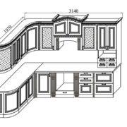 Кухня «Деметра» NEW радиусная угловая L1970х3140 схема