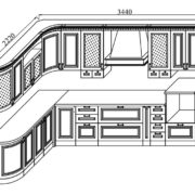 Кухня «Деметра» NEW радиусная угловая L2220х3440 схема