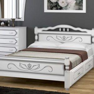 Кровать Карина-5 белый жемчуг с ящиками