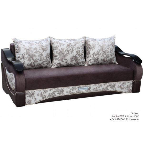 София диван-кровать 3-х местный (Paula 02+Runo 727, к.з Kanzas 10 накладки Венге)