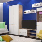 Гостиная Анталия 1 Сонома - Белый Софт с шкафом
