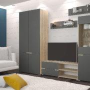 Гостиная Анталия 1 Сонома - Графит софт со шкафом