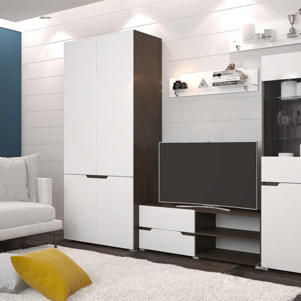 Гостиная Анталия 1 Венге - Белый Софт с шкафом