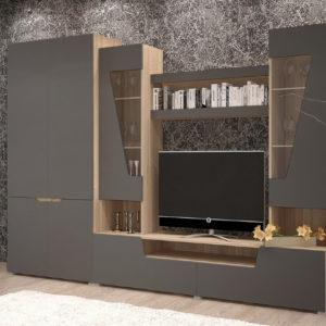 Гостиная Анталия 2 Сонома - Графит софт со шкафом