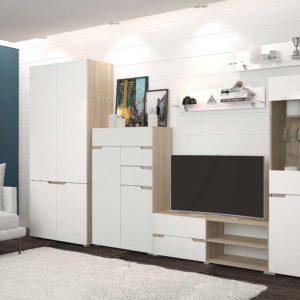 Гостиная Анталия Сонома - Белый Софт с шкафом и комодом