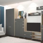 Гостиная Анталия Сонома - Графит софт со шкафом и комодом