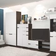Гостиная Анталия Венге - Белый Софт с шкафом и комодом