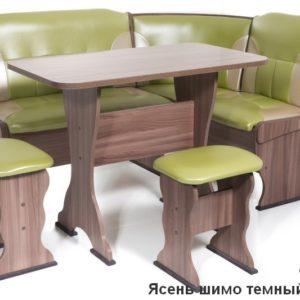 Кухонный уголок Орхидея ШИМО ЯСЕНЬ ТЕМНЫЙ Экокожа 105-101