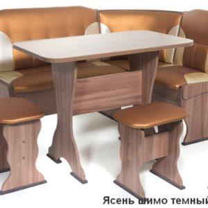 Кухонный уголок Орхидея ШИМО ЯСЕНЬ ТЕМНЫЙ Экокожа 109-101
