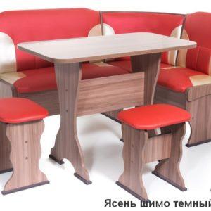 Кухонный уголок Орхидея ШИМО ЯСЕНЬ ТЕМНЫЙ Экокожа 112-101