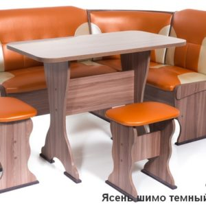 Кухонный уголок Орхидея ШИМО ЯСЕНЬ ТЕМНЫЙ Экокожа 120-101