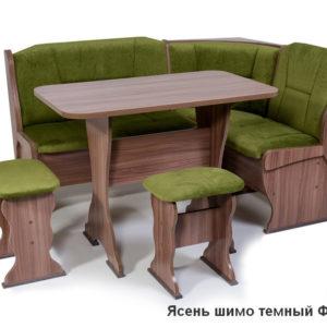 Кухонный уголок Орхидея ШИМО ЯСЕНЬ ТЕМНЫЙ Флок Грин