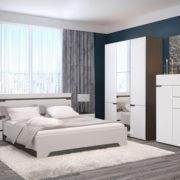 Спальня Анталия Венге-Белый софт с комодом