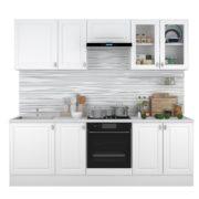 Кухня Ева 2,4м витраж Белый Софт