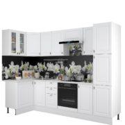 Кухня Ева Белый Софт угловая с пеналом