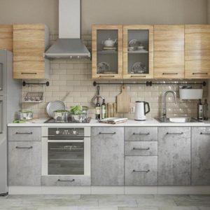 Модульный кухонный гарнитур Лофт 2600 бетон светлый-дуб цикорий