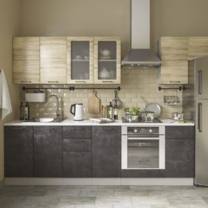 Модульный кухонный гарнитур Лофт 2600 бетон темный-дуб майский