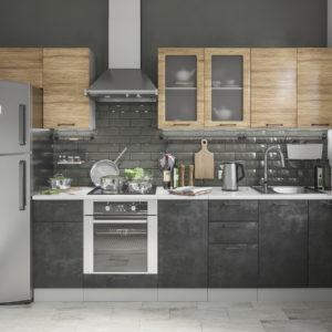 Модульный кухонный гарнитур Лофт 2600 бетон темный-дуб цикорий