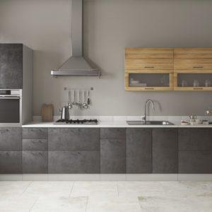 Модульный кухонный гарнитур Лофт 4200 бетон темный-дуб цикорий