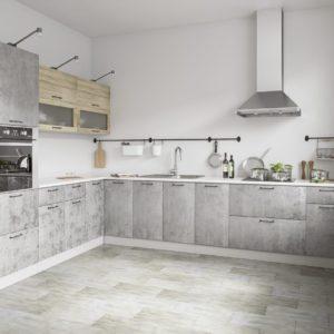Модульный кухонный гарнитур Лофт угловой бетон светлый-дуб майский