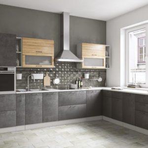 Модульный кухонный гарнитур Лофт угловой бетон темный-дуб цикорий