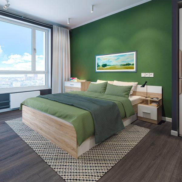 Спальня Уют Сонома-Белый без шкафа