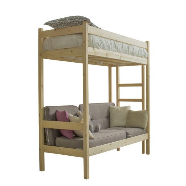 Кровать чердак с диваном из дерева