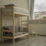 Кровать чердак с диваном из дерева фото-1