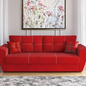 Диван Фортуна (велюр текстура красный) LUXE