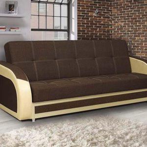 Диван-кровать Феникс NEW (рогожка коричневая-кож. зам. бежевый TEX CREAM)