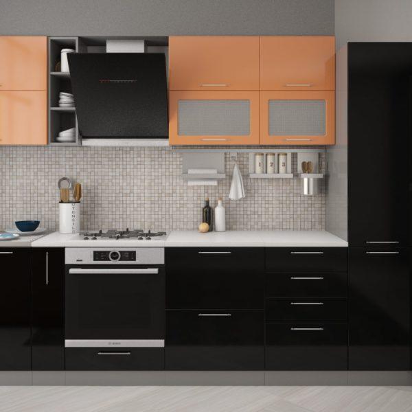 Модульная кухня Олива черный.оранж 3.1