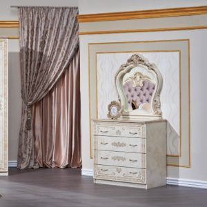 Гарнитур мебели для спальни Аманда (корень дуба-орех фарина) комод с зеркалом