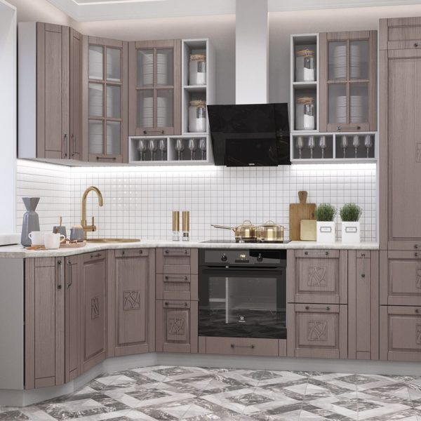 Кухня Тито 1.75х2.95м. Капучино Высокие модули