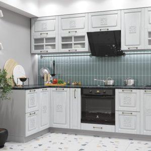 Модульный кухонный гарнитур «Опера» 1.4x2.8 (Белый патина)