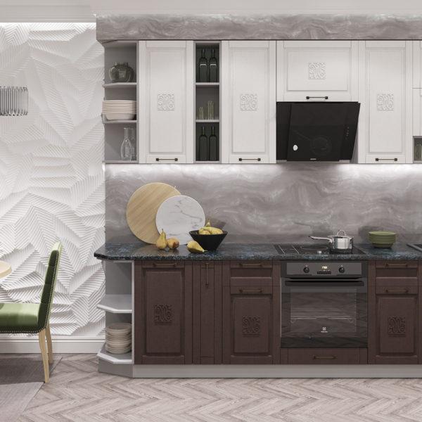 Модульный кухонный гарнитур «Опера» 2900 (Ваниль Шоколад)