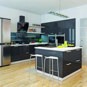 Пластиковая кухня Черный глянец 3.0х2.4