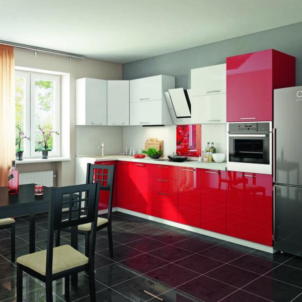 Пластиковая кухня Красный-Белый 1.0х3.2