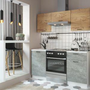 Кухня Дуся 1.6 Дуб бунратти-Цемент