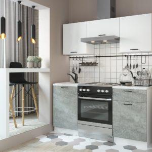 Кухня Дуся 1.6 Цемент-Белый глянец