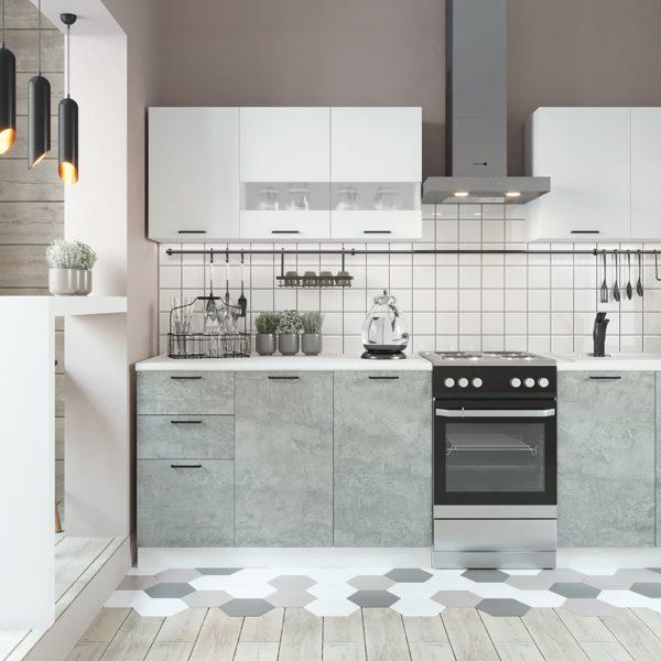 Кухня Дуся 2.0 Цемент-Белый глянец