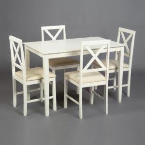 Обеденный комплект эконом Хадсон (стол + 4 стула) Ivory white, ткань кремовая