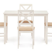 Обеденный комплект эконом Хадсон (стол + 4 стула) Ivory white, ткань кремовая фото-1