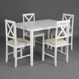 Обеденный комплект эконом Хадсон (стол + 4 стула) pure white